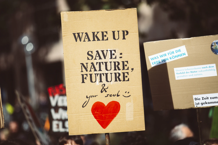 """poster reading \""""wake up! save nature, the future and your soul\"""""""