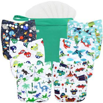Six Wegreeco Cloth Diapers, One wetbag and six inserts