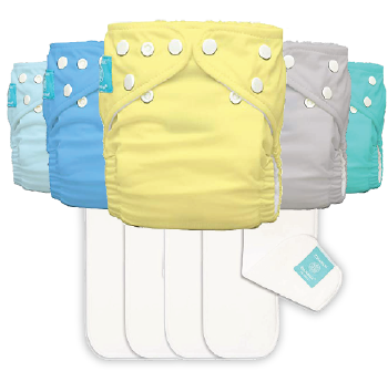 Five Charlie Banana Diapers and five inserts