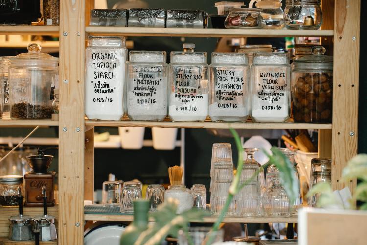 glass jars with dry food