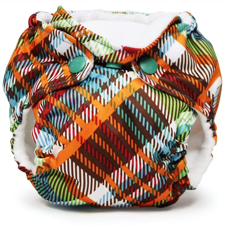 A Kanga Care Cloth diaper with a striped  pattern