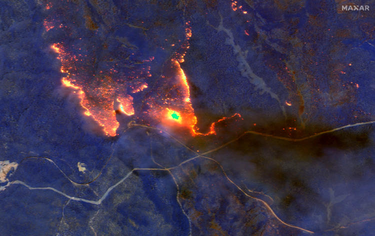 fire from space at night