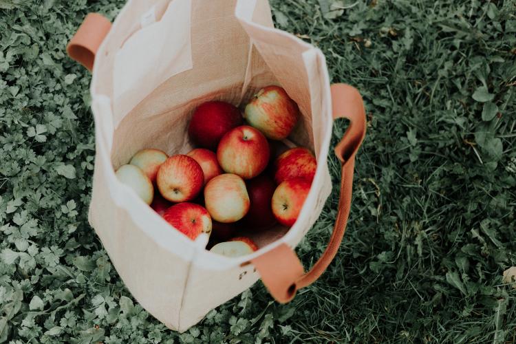 reusable bag full of apples