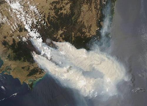 A view from space of the australia fires