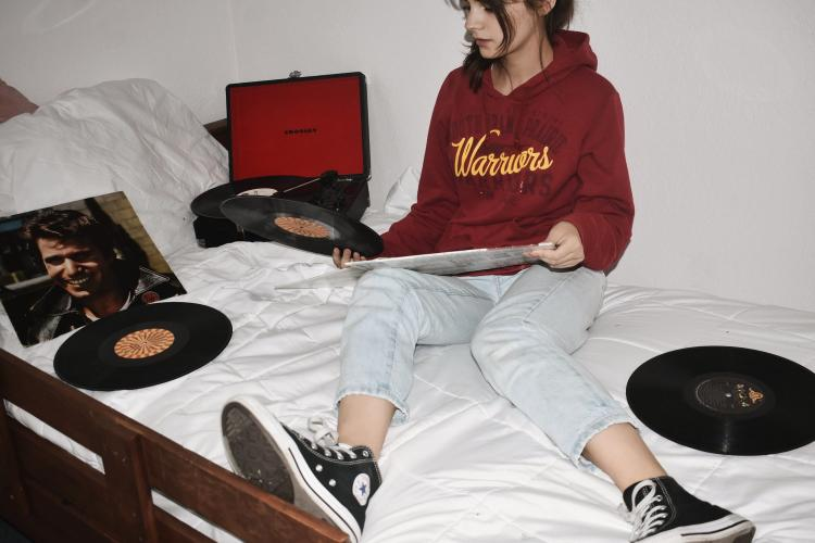 Girl with vinils