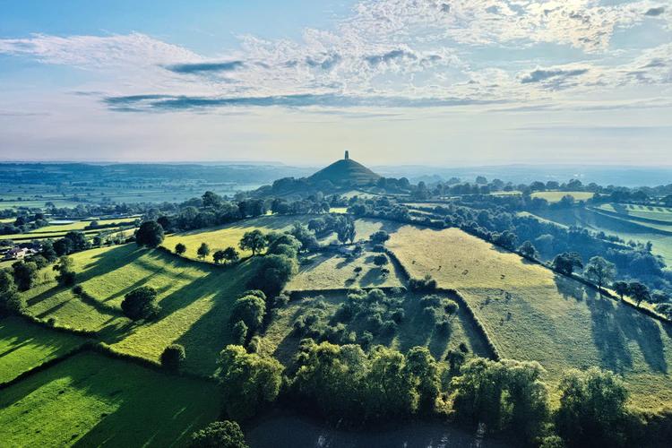 dron image of Glastonbury Tor