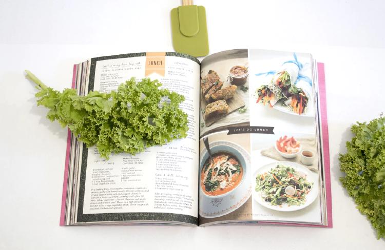 green leaf on cookbook photo