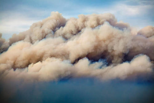 A closeup of the smoke in the air