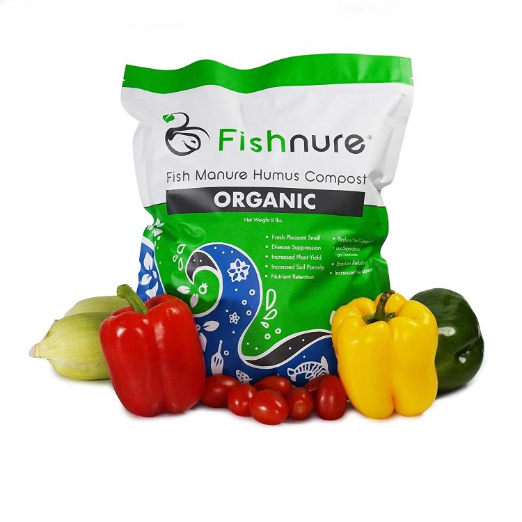 Fishnure organic humus with vegetables.