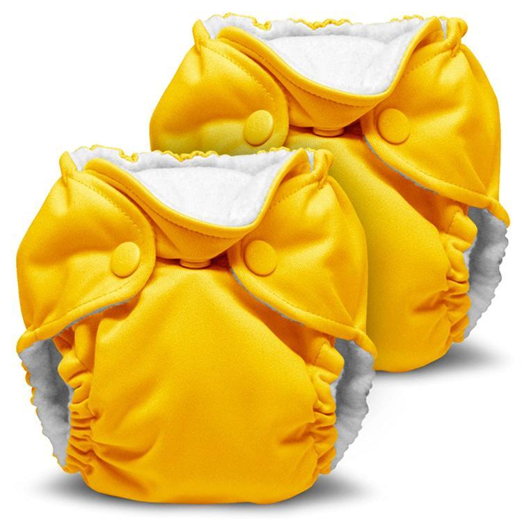 Two yellow Kanga Care cloth diapers