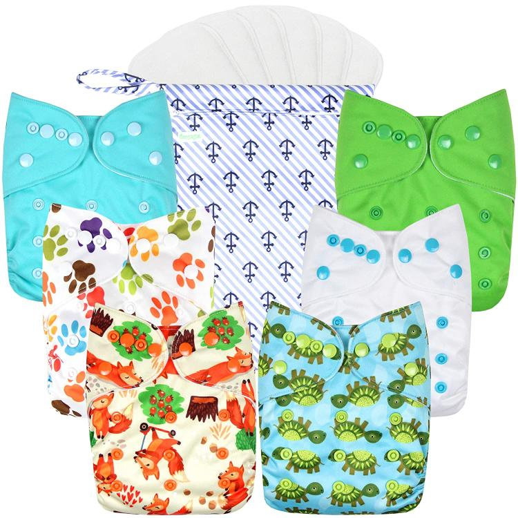 Animal design Wegreeco Cloth Diaper, one wetbag and six inserts