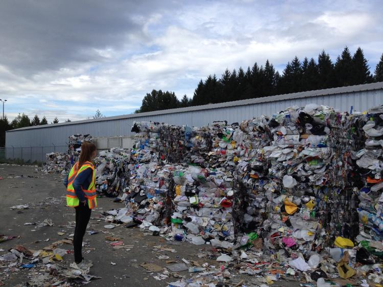 municipal worker looking at compressed trash piles
