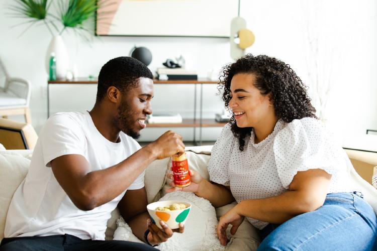 couple having snacks