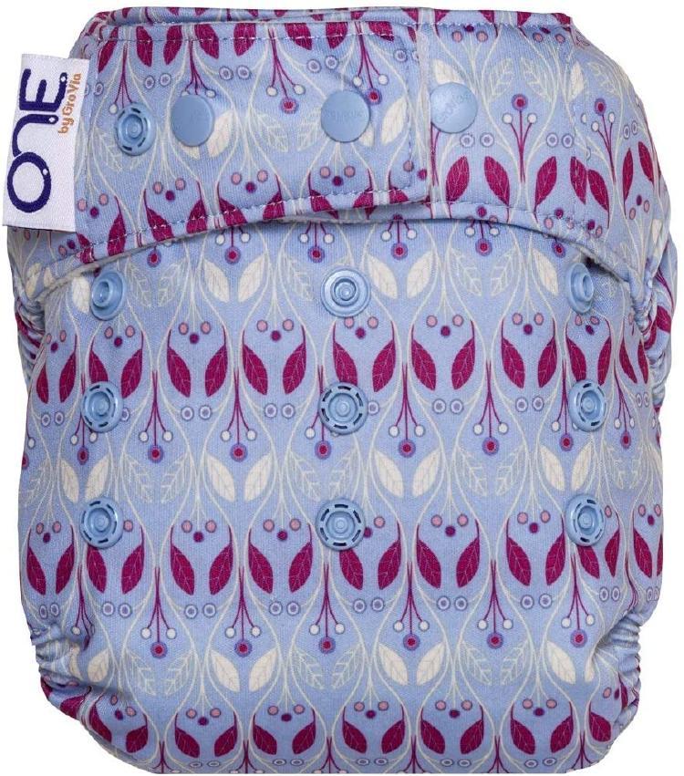 A GroVia O.N.E. cloth diaper with a colorful design