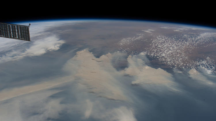 a close look from space of the smoke
