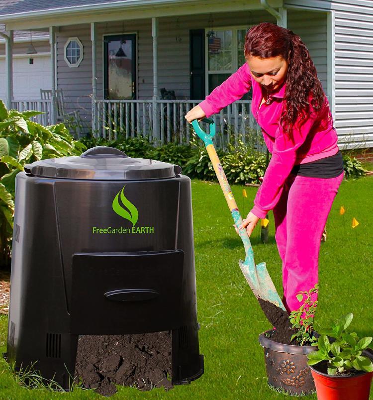 Woman using the compost bin