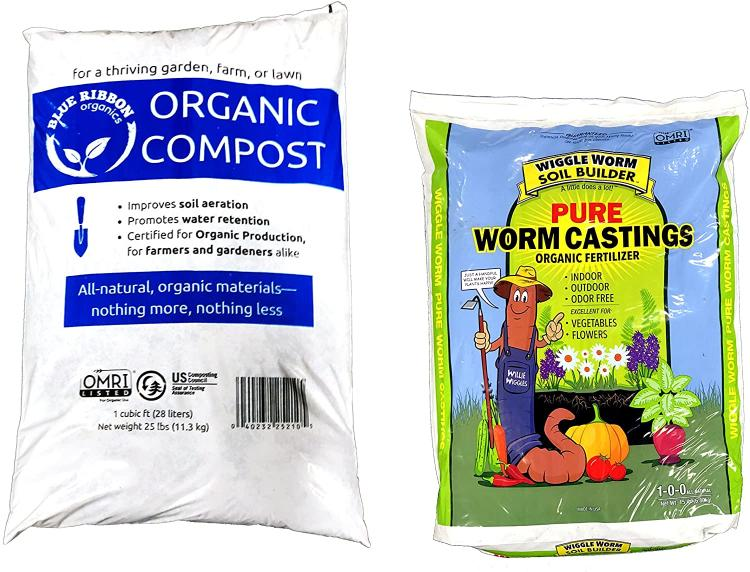 Organic compost and worm casting combo.