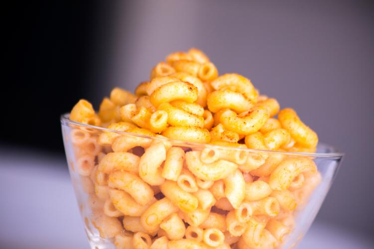 a bowl with mac and cheese