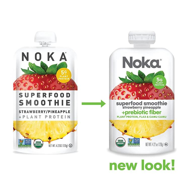 The pouch of the Strawberry NOKA vegan smoothie