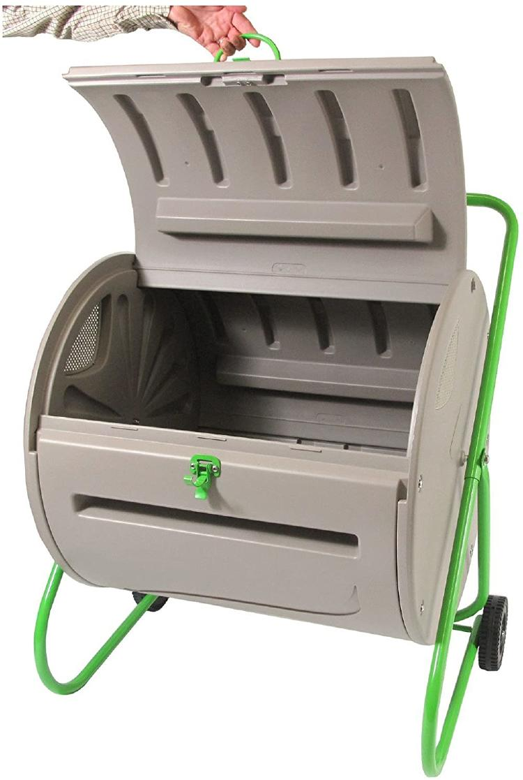 The composter has a wide door for filling and emptying