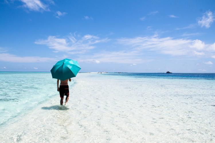 Person Walking On The Seashore Holding Blue Umbrella