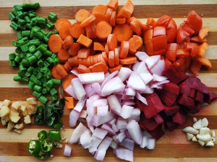cuted vegetables