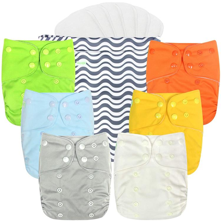 Plain Design Wegreeco Cloth Diapers, one wetbag and six inserts