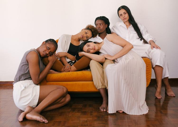 Five girls in a coach