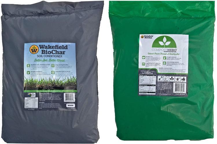 Wakefield 1 Cu Ft Premium Biochar Organic Garden Soil Conditioner & 1 Cu Ft Hero Blend Compost with Fungi