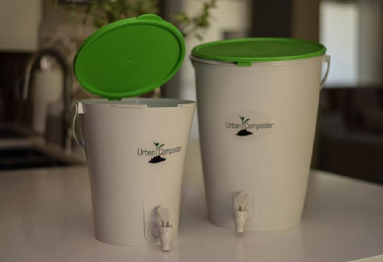 green lid bins on a sink