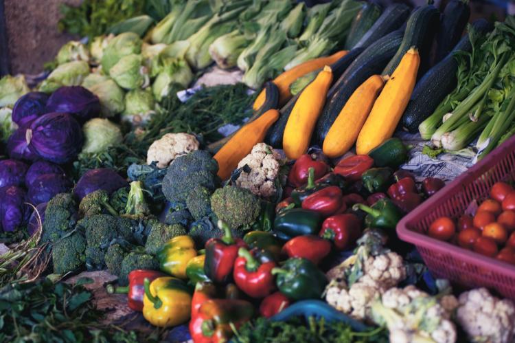 veggies displayed